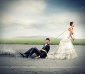 image of trap  - Funny concept of bound and trapped by marriage - JPG