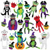 picture of sock-monkey  - Vector Collection of Adorable Halloween Themed Sock Monkeys - JPG