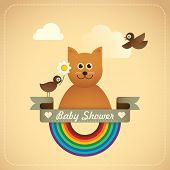 picture of baby cat  - Baby shower illustration with comic cat - JPG