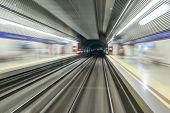 picture of high-speed train  - Underground train tunnel blurred motion  - JPG