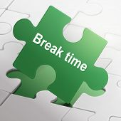 foto of time-piece  - break time on green puzzle pieces background - JPG