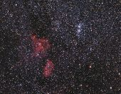 pic of hydrogen  - Clusters of stars and some red hydrogen nebulae in interstellar space between the constellations of Cassiopeia and Perseus - JPG