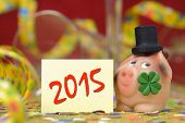 image of talisman  - New year 2015 with talisman and clover leaf - JPG