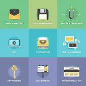 image of promoter  - Flat icons set of digital marketing agency promotion viral video advertising social media campaign seo development and website search optimization - JPG