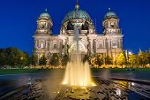 picture of waterspout  - The Berlin Dom and a waterspout fountain at dawn - JPG