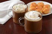 image of cream puff  - Hot chocolate with whipped cream and mini cream puffs  - JPG