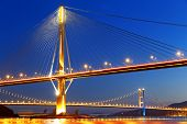 picture of hong kong bridge  - hong kong highway bridge at night - JPG