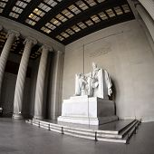 pic of abraham lincoln memorial  - Statue of Abraham Lincoln at the Lincoln Memorial in Washington DC - JPG