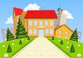 stock photo of school building  - Vector cartoon modern school building with the city in the background - JPG