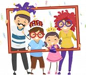 pic of hollow  - Illustration Featuring a Family in Party Costumes Holding a Hollow Frame - JPG