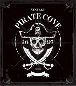 image of skull bones  - Vintage vector pirates skull frame background - JPG