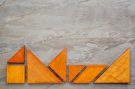 image of tangram  - seven tangram wooden pieces - JPG