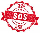 stock photo of sos  - sos red grunge seal isolated on white - JPG