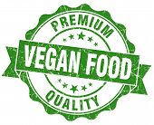 stock photo of vegan  - vegan food green grunge seal isolated on white - JPG