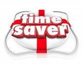 stock photo of efficiencies  - Time Saver words in 3d letters on a life preserver to illustrate steps - JPG