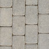 stock photo of paving stone  - Tiled with paving stone bricks path - JPG