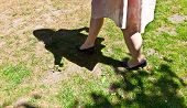 foto of pantihose  - leg of beautiful girl walking on the green - JPG