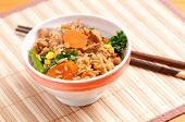 stock photo of stir fry  - chicken stir fry with vegetables and white rice - JPG