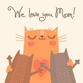 pic of baby cat  - Sweet card for Mothers Day with cats - JPG