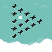 picture of hetero  - Flock of birds flying in the sky Different concepts - JPG