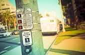 stock photo of pedestrian crossing  - Pedestrian Button and signage on pedestrian crossing - JPG