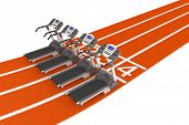 stock photo of olympiad  - Treadmill Machine over Running Track on a white background - JPG