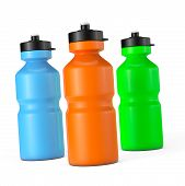 pic of plastic bottle  - Multicolour Sport Plastic Water Bottles on a white background - JPG