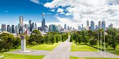 stock photo of cbd  - The view from the Shrine of Remembrance towards Melbourne CBD on a hot summer - JPG