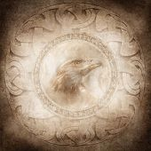 image of celtic  - Eagle head enclosed within a corroded ring of mysterious carved runic symbols set against a background of intricate circular Celtic style patterns - JPG