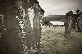 foto of graveyard  - Scottish graveyard and Loch Ness in sepia tone - JPG