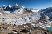 picture of nepali  - View of Ngozumba glacier the largest glacier in great Himalayan range  - JPG
