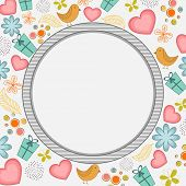 foto of corazon  - Happy Valentines Day celebration with blank rounded frame on seamless background - JPG