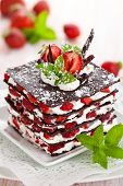 pic of whipping  - Chocolate dessert with strawberries whipped cream and mint - JPG