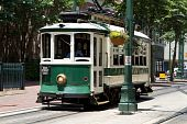 foto of memphis tennessee  - Passengers ride an electric trolley car down Main Street - JPG