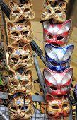 picture of venetian carnival  - Rows of venetian carnival masks for sale - JPG