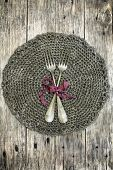 image of doilies  - Beautiful decoration with two antique forks on handmade crochet doily - JPG