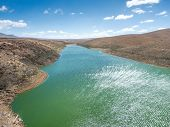 stock photo of dam  - The reservoir Embalse de los Molinos  - JPG