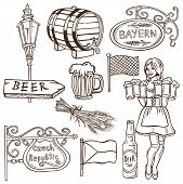 image of drawing beer  - drawing hand on a white background on the topic of beer Czech Republic Bavarian - JPG