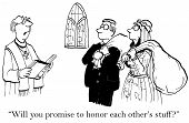 foto of priest  - Cartoon of wedding ceremony and priest is asking the bride and groom if they will honor each other - JPG