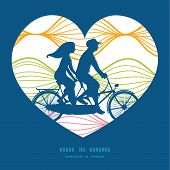 foto of tandem bicycle  - Vector colorful horizontal ogee couple on tandem bicycle heart silhouette frame pattern greeting card template graphic design - JPG