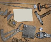 pic of work bench  - vintage jeweler tools and diamonds over  working bench - JPG