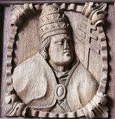 picture of minos  - Wooden engraving of a bishop at the main entrance door of the Cathedral of Tui Galicia Spain - JPG