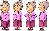 stock photo of grandmother  - Grandmother cartoon character at different angles - JPG