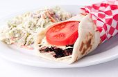 stock photo of cheese-steak  - beef steak wrap with cheese and tomato  - JPG