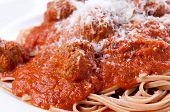 stock photo of whole-wheat  - delicious whole wheat spaghetti and meatballs in tomato sauce - JPG