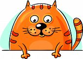stock photo of peep  - Fat orange cartoon cat peeping out and looking down - JPG