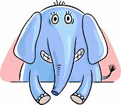 picture of peep  - Blue cartoon elephant peeping out - JPG