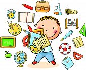 picture of schoolboys  - Cartoon schoolboy with lots of school things representing different school subjects - JPG