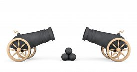 stock photo of cannon-ball  - Old Pirate Cannons on a white background - JPG