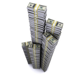 picture of 100 dollars dollar bill american paper money cash stack  - Tower of reams on white background with shadow - JPG